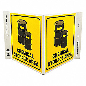 "Chemical, Gas or Hazardous Materials, Plastic, 7"" x 12"", With Mounting Holes, V-Shaped"