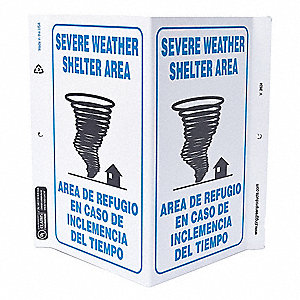 "Evacuation, Assembly or Shelter, Plastic, 11"" x 7"", With Mounting Holes, V-Shaped"