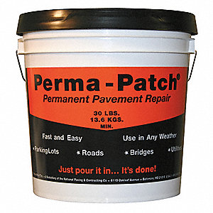 "Solid Pavement Repair Patch, 30 lb. Size, Pail Container Type, Coverage: 3 sq. ft. x 1"" depth"
