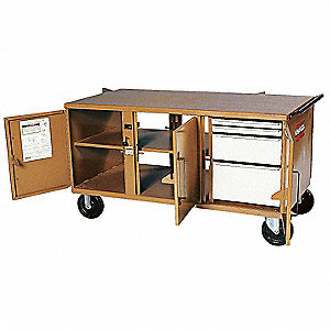 "Mobile Cabinet Workbench, Steel, 32"" Depth, 34"" Height, 62"" Width"