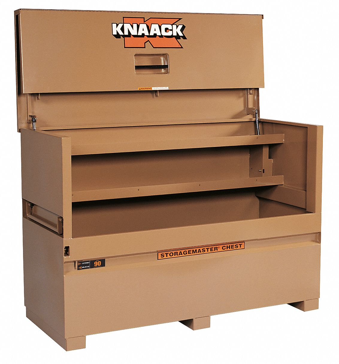 72 in Overall Width,  30 in Overall Depth,  49 in Overall Height,  Piano-Style Jobsite Box,  Tan
