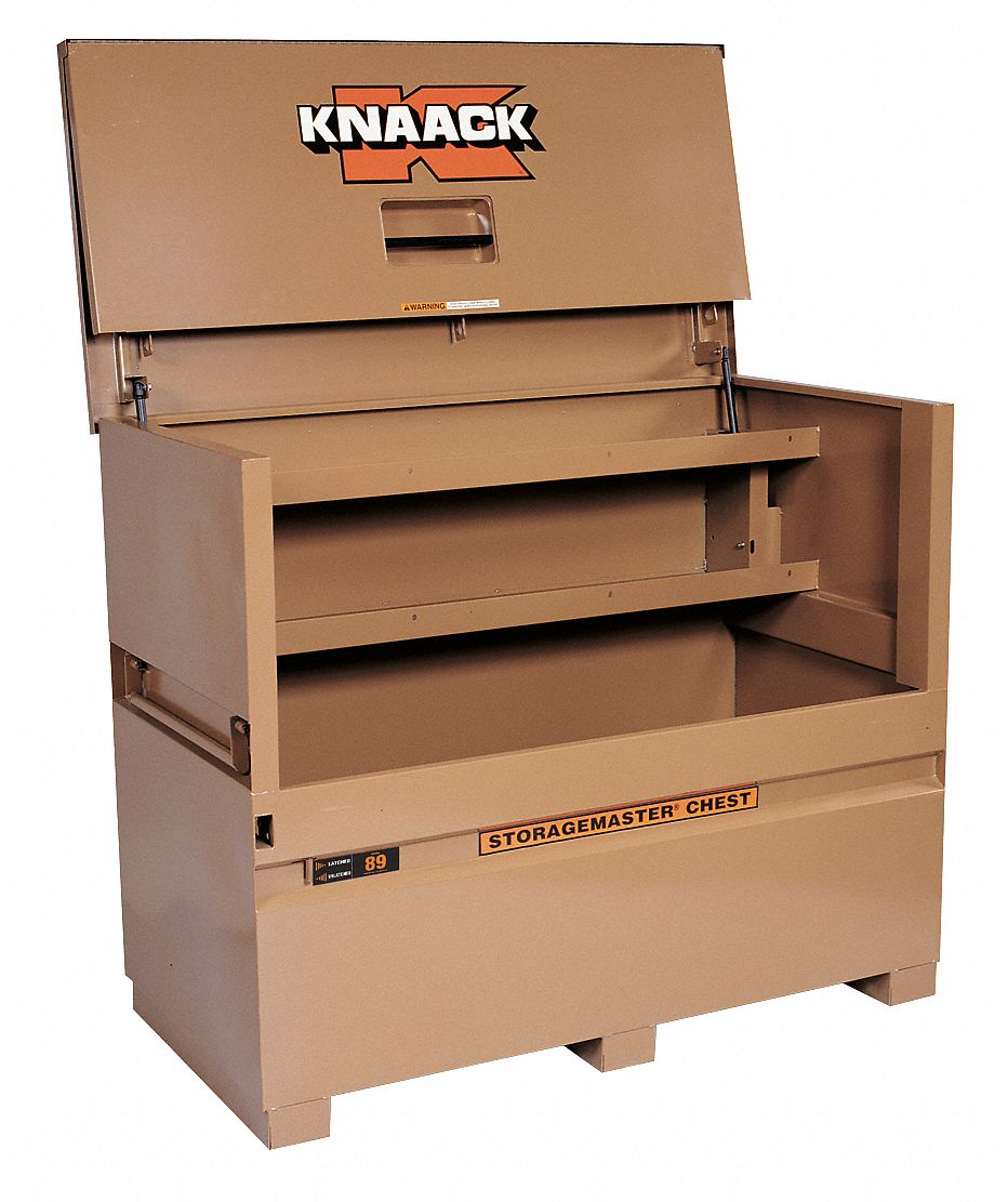 60 in Overall Width,  30 in Overall Depth,  49 in Overall Height,  Piano-Style Jobsite Box,  Tan