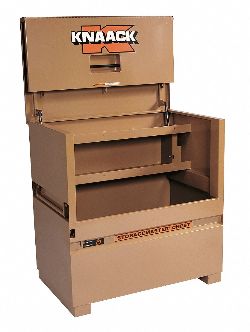 48 in Overall Width,  30 in Overall Depth,  49 in Overall Height,  Piano-Style Jobsite Box,  Tan