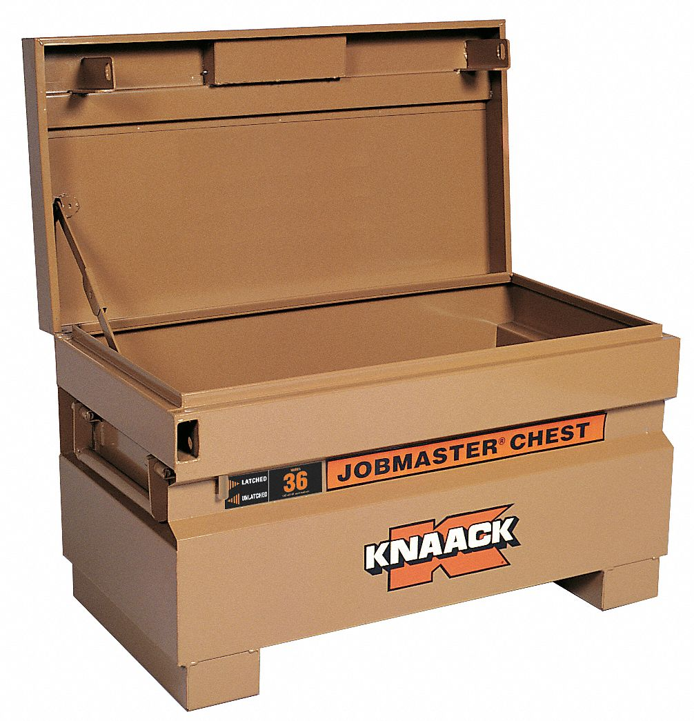 36 in Overall Width,  19 in Overall Depth,  21 1/2 in Overall Height,  Jobsite Box,  Tan