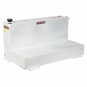 White L-Shape Liquid Transfer Tank, 90 gal. Capacity, 14 Gauge Steel