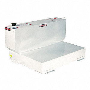 White L-Shape Liquid Transfer Tank, 110 gal. Capacity, 14 Gauge Steel