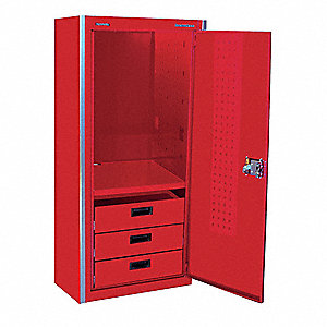 "Red Side Locker, 26-3/8"" Width x 24""  Depth x 62"" Height, Number of Drawers: 3"