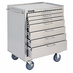 "Silver Rolling Cabinet, Cleanroom, Width: 29"", Depth: 20"", Height: 35"""