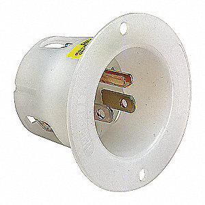 FLANGED INLET 15A 125V 5-15P WH