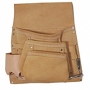 Beige Nail and Tool Pouch, Suede Leather, Fits Belts Up To (In.): 2-3/4