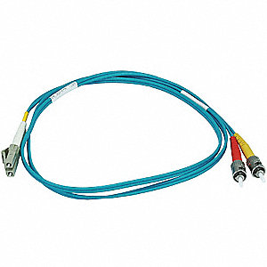 Fiber Optic Patch Cord,LC/ST,1m,Aqua