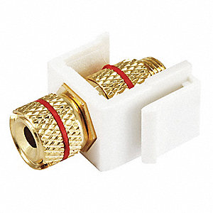 Keystone Jack, White, Plastic, Series: Standard, Cable Type: Speaker (Red)