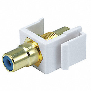 Keystone Jack, White, Plastic, Series: Standard, Cable Type: RCA (Blue)