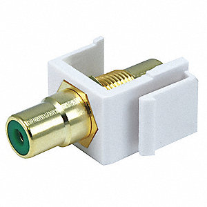 Keystone Jack, White, Plastic, Series: Standard, Cable Type: RCA (Green)