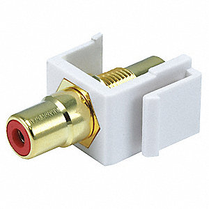 Keystone Jack, White, Plastic, Series: Standard, Cable Type: RCA (Red)
