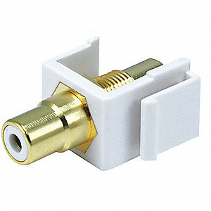 Keystone Jack, White, Plastic, Series: Standard, Cable Type: RCA (White)