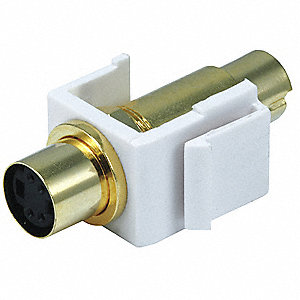 Keystone Jack, White, Plastic, Series: Standard, Cable Type: S-Video