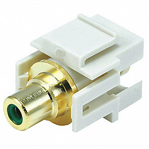 Keystone Jack, Ivory, Plastic, Series: Standard, Flush Type, Cable Type: RCA (Green)