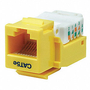 Keystone Jack, Yellow, Plastic, Series: Standard, Cable Type: Category 5e
