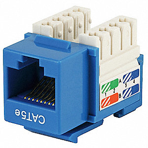 Keystone Jack, Blue, Plastic, Series: Standard, Cable Type: Category 5e