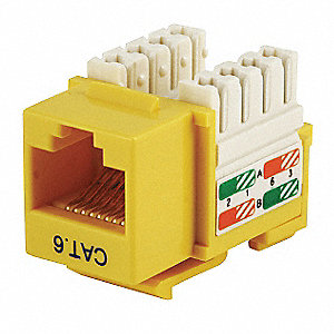 Keystone Jack, Yellow, Plastic, Series: Standard, Cable Type: Category 6
