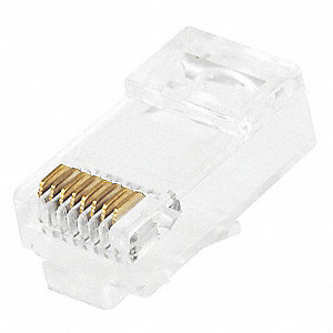 Clear Modular Plug, Number of Contacts: 8, Number of Positions: 8