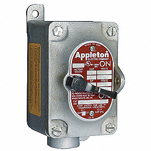 "1-Pole 20 Amp Front Operated Tumbler Switch, 1/2"" Dead-End Hub Style, EDS Series"