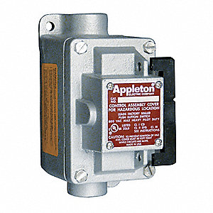 "3-Way 20 Amp Front Operated Tumbler Switch, 1/2"" Feed-Thru Hub Style, EDSC Series"