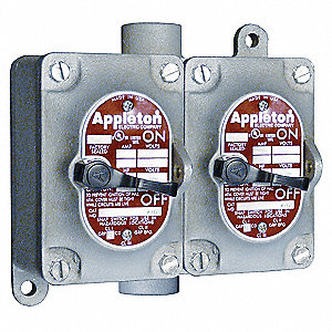 "4-Way 20 Amp Front Operated Tumbler Switch, 1"" Feed-Thru Hub Style, EDSC Series"
