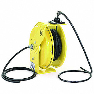 Yellow Retractable Cord Reel, 10 Max. Amps, Cord Ending: Flying Lead, 35 ft. Cord Length