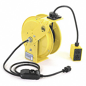 Kh Industries Extension Cord Reel Spring Retraction 120v Ac Quad Box Receptacle 50 Ft Yellow Reel Color 13v198 Rtbb3l Wgb520 J12k Grainger