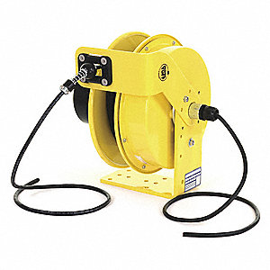 Yellow Retractable Cord Reel, 10 Max. Amps, Cord Ending: Flying Lead, 50 ft. Cord Length