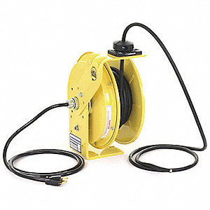 Yellow Retractable Cord Reel, 20 Max. Amps, Cord Ending: Flying Lead, 25 ft. Cord Length