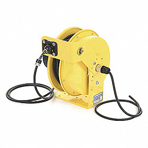 Yellow Retractable Cord Reel, 8 Max. Amps, Cord Ending: Flying Lead, 70 ft. Cord Length
