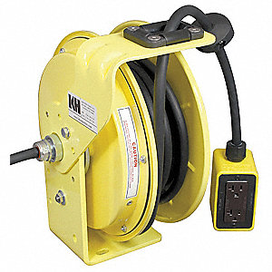 Yellow Retractable Cord Reel, 20 Max. Amps, Cord Ending: Quad Box Receptacle, 50 ft. Cord Length