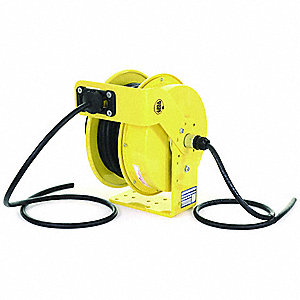 Yellow Retractable Cord Reel, 25 Max. Amps, Cord Ending: Flying Lead, 50 ft. Cord Length