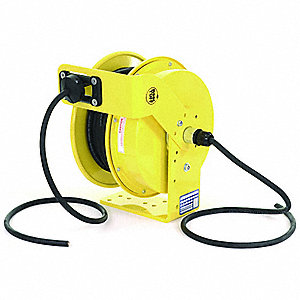 Yellow Retractable Cord Reel, 15 Max. Amps, Cord Ending: Flying Lead, 70 ft. Cord Length