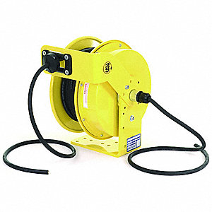 Yellow Retractable Cord Reel, 20 Max. Amps, Cord Ending: Flying Lead, 70 ft. Cord Length