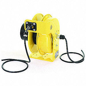 Yellow Retractable Cord Reel, 8 Max. Amps, Cord Ending: Flying Lead, 50 ft. Cord Length