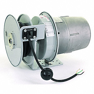 Gray Hazardous Location Retractable Cord Reel, 12 Max. Amps, Cord Ending: Flying Lead