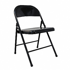Folding Chair,Steel,Black,300 lb.