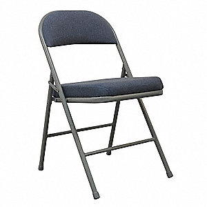 Gray Steel Folding Chair with Blue Seat Color, 1EA