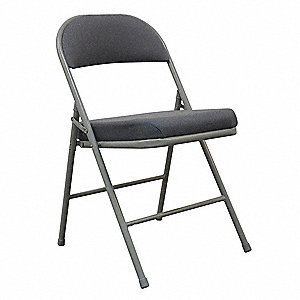 Gray Steel Padded Folding Chair with Gray Seat Color, 1EA