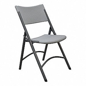 Folding Chair,Blow Molded,Gray,300 lb.