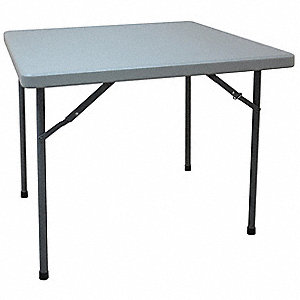 "Square Folding Table, 29"" Height x 36"" Width, Gray"