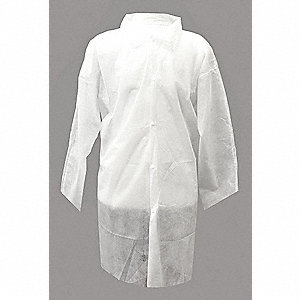 Disp. Lab Coat,5XL,Poly,Wht,PK30
