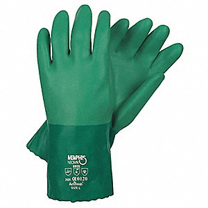 "Chemical Resistant Gloves, Size XL, 12""L, Green ,  1 PR"