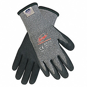 Biopolymer Cut Resistant Gloves, ANSI/ISEA Cut Level 3, HPPE Lining, Black, Gray, 2XL, PR 1