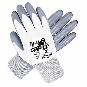 15 Gauge Smooth Nitrile Coated Gloves, Size XS, Gray/White