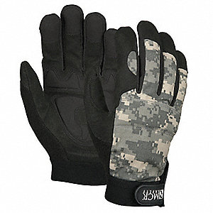 General Utility Mechanics Gloves, Synthetic Leather Palm Material, Camo/Black, M, PR 1